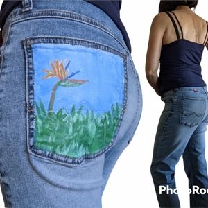 Wrangler high waisted jeans hand painted